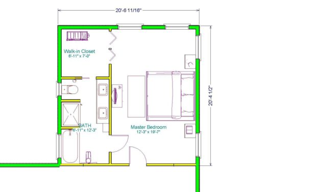 the complete floor plan of a 20' x 20' master bedroom extension