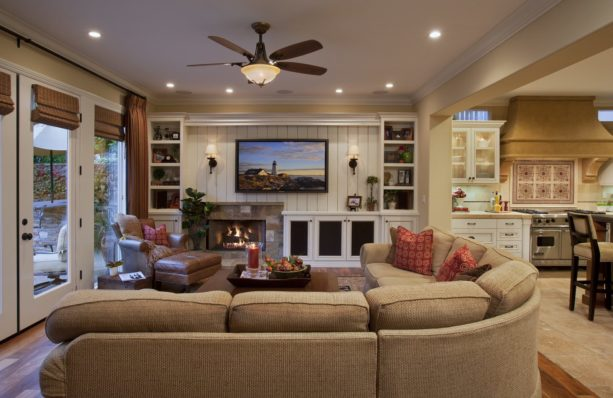 asymmetrical entertainment wall unit with slate fireplace