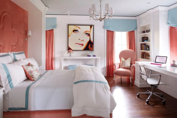 teenage girl's bedroom with coral and pastel blue colors