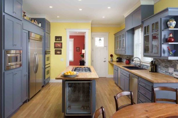 trout blue gray kitchen cabinets with yellow walls