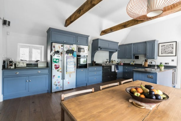 beaded inset kitchen cabinets with blue gray color combination