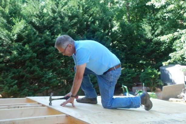 nailing down the plywood sheathing