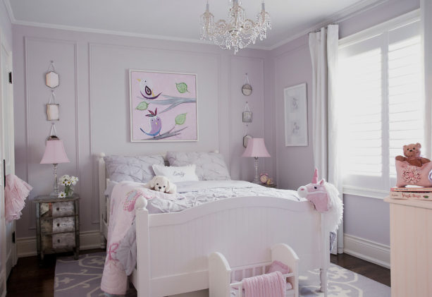 soft pastel pink and purple theme in a pretty transitional girl's room