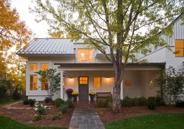 pre-weathered galvalume metal roof with white dove house exterior color combination