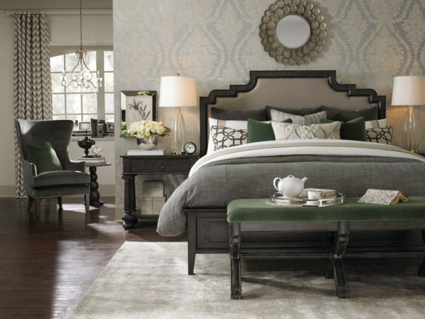 the use of basil green accents for creating an even more elegant gray bedroom