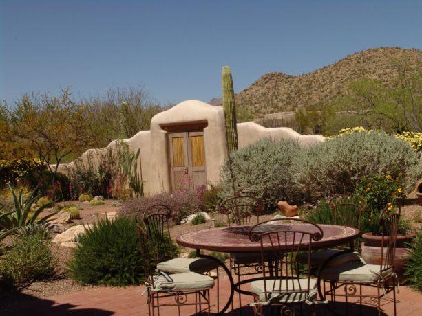 southwestern desert landscape with backyard patio idea