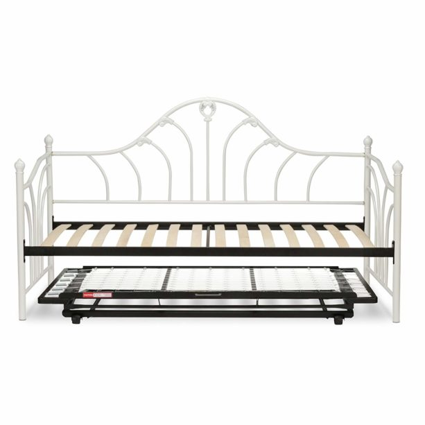 Leggett & Platt Emma Complete Metal Daybed with Euro Top Spring Support Frame and Pop-Up Trundle Bed, Antique White Finish, Twin.
