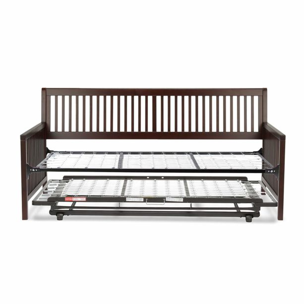 Leggett & Platt Mission Complete Wood Daybed with Link Spring Support Frame and Pop-Up Trundle Bed, Espresso Finish, Twin