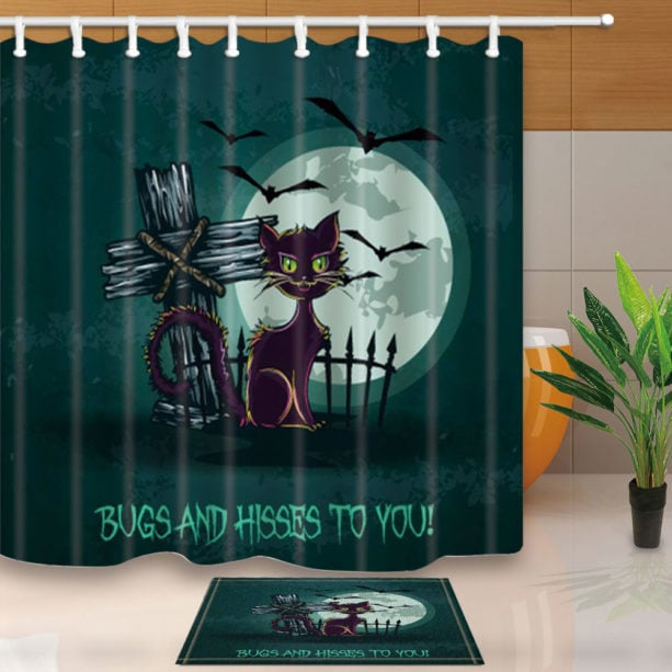 Halloween shower curtain with purple cat