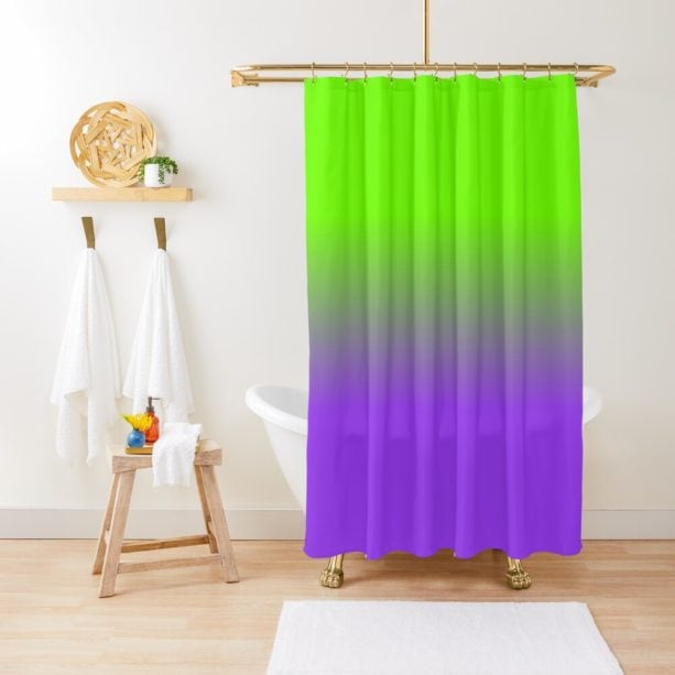 ombre neon purple and neon green shower curtain