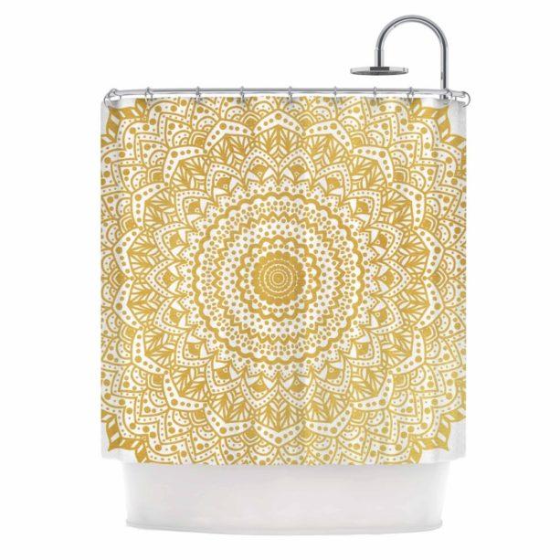 Kess inHouse gold mandala shower curtain