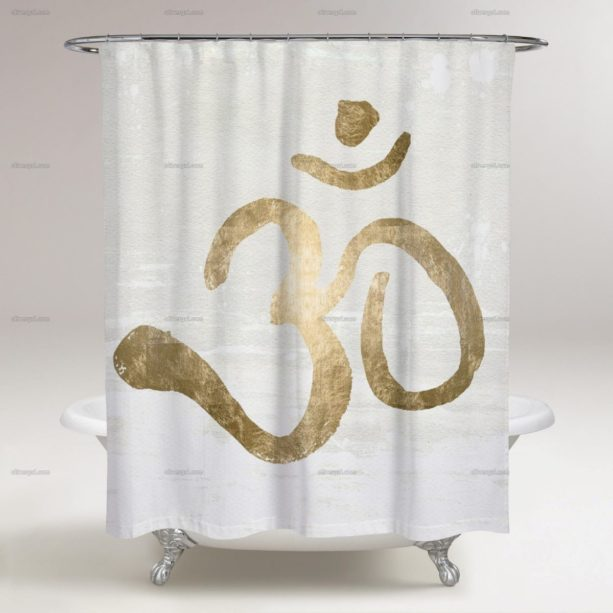 Oliver Gal Artist Co. ohm gold blanc shower curtain