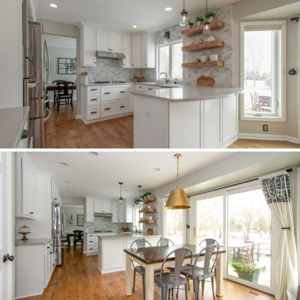 classic u-shaped kitchen with a peninsula and white shaker cabinets
