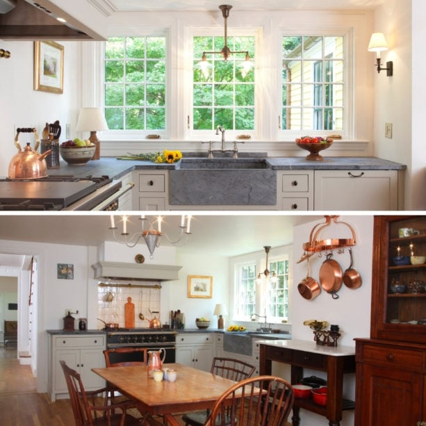 country style kitchen with a farmhouse sink and casement windows over
