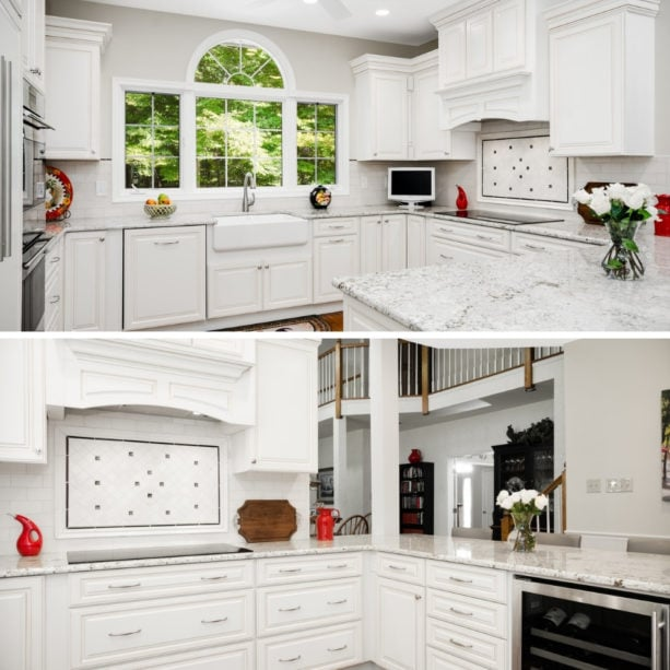 enclosed u-shaped kitchen with quartzite countertops and a peninsula