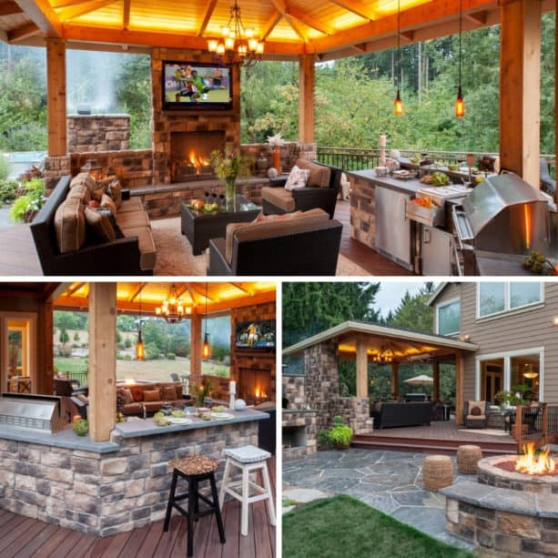 gazebo with outdoor lighting, fireplace, and tv