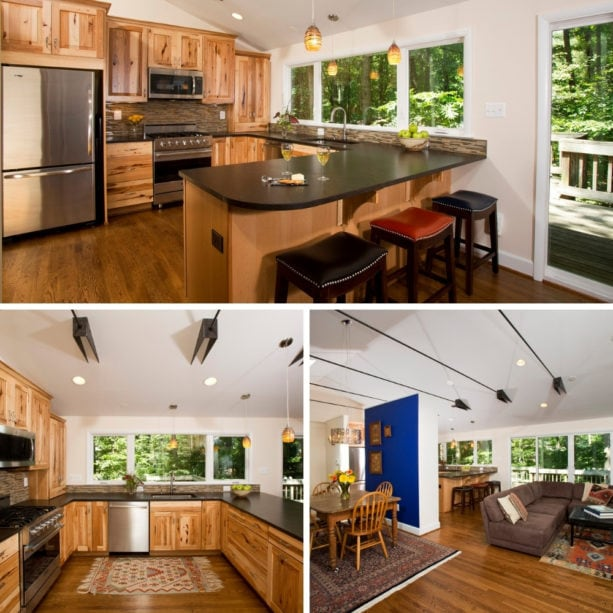 rustic u-shaped kitchen with an open concept and a peninsula
