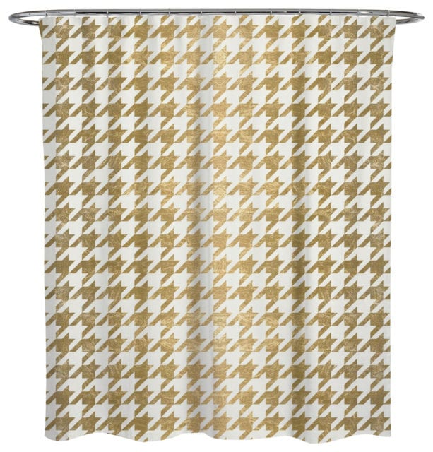 Oliver Gal Artist Co. golden Houndstooth shower curtain
