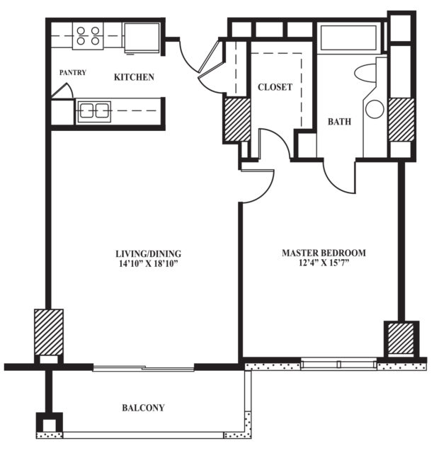 master bedroom floor plan with walk-n closet and bath perfectly separated from one another