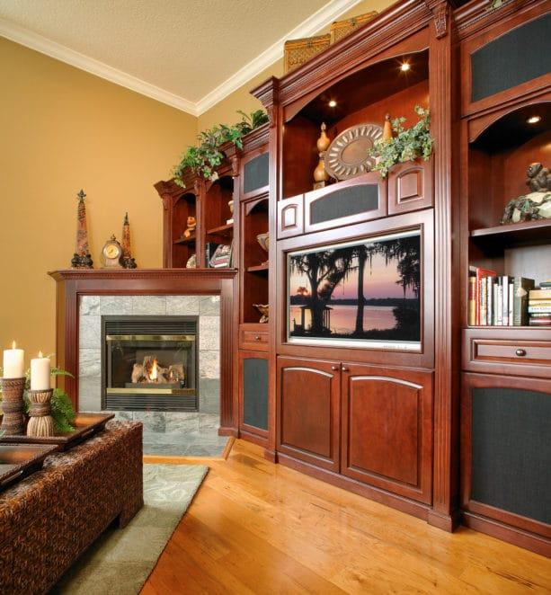 custom wood wall unit with corner fireplace