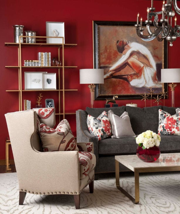 beige, grey, and dark red combo is a traditional living room