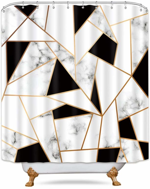 Riyidecor marble shower curtain with cracked pattern