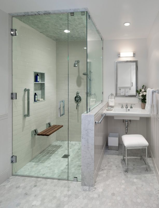 a mid-sized without tub master bathroom with grey floor