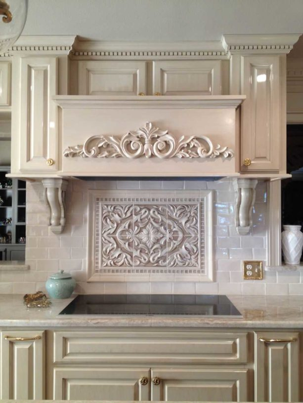 encore ceramics behind stove only backsplash in a classic kitchen