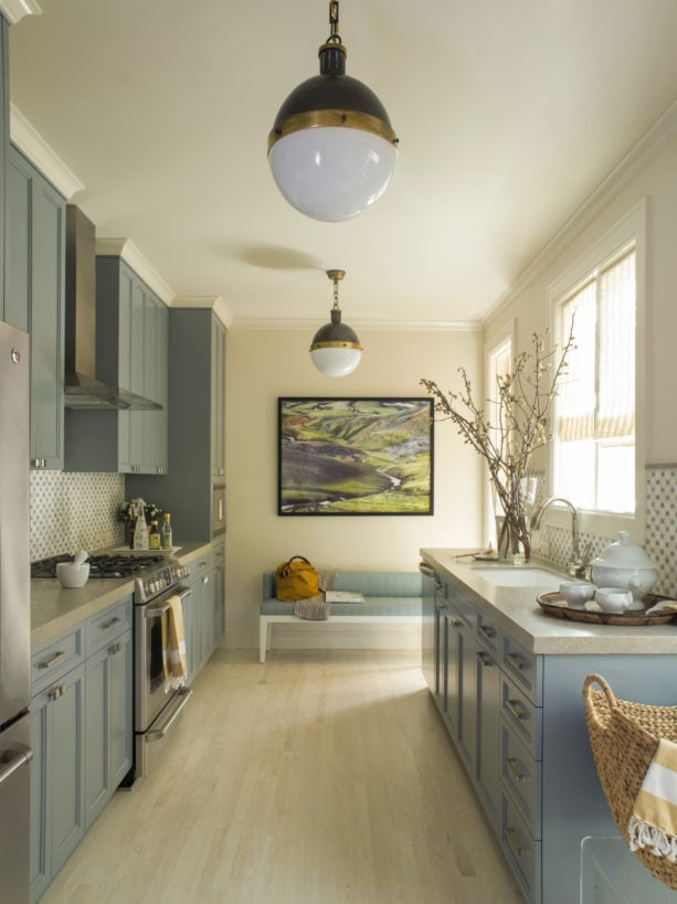 cookham blue gray kitchen cabinets with limestone countertops