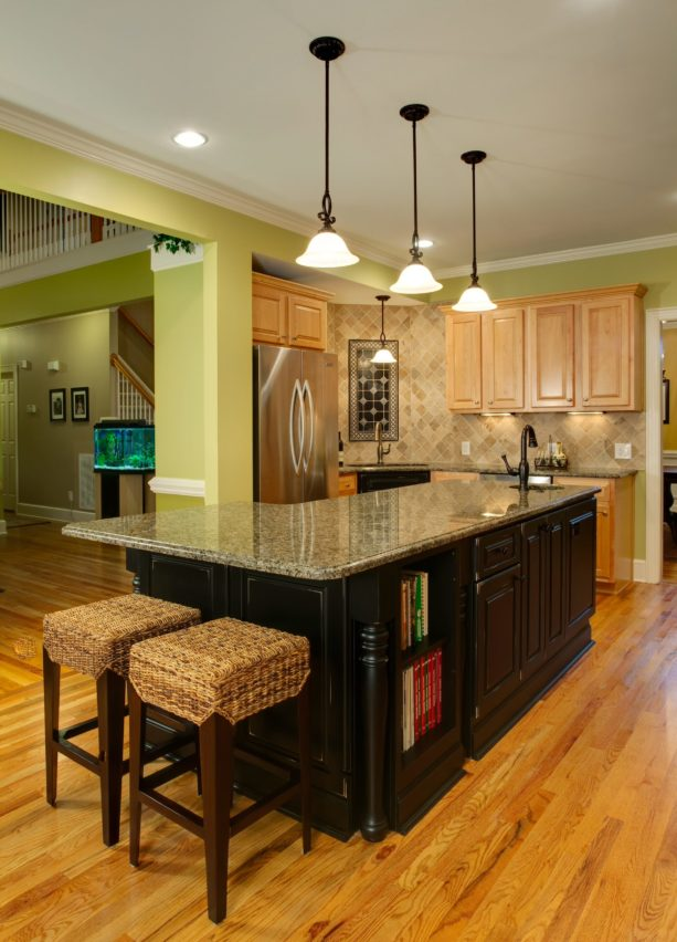 natural maple cabinets with stain and Hearts of Palm wall paint