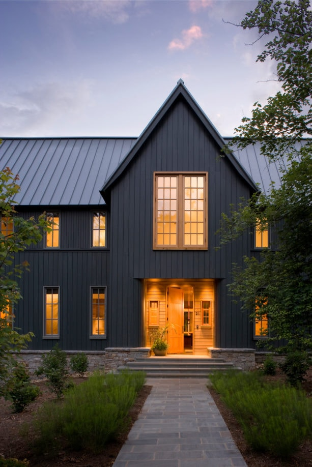 AEP metal roof in cool zactique color and black satin finish house exterior