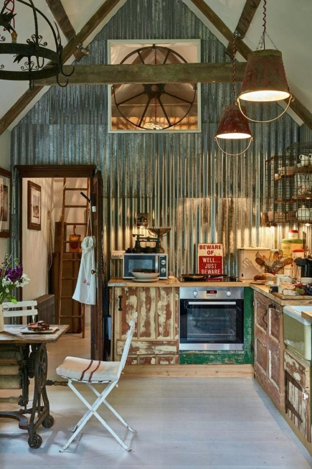 corrugated metal walls in rustic kitchen style