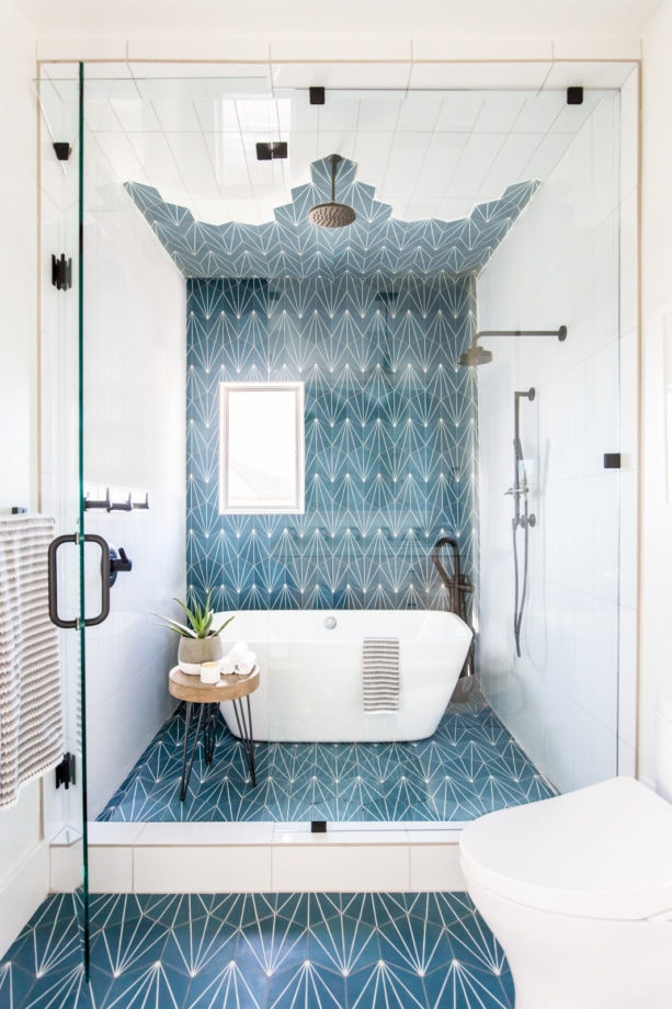 a modern bathroom gives a unique look with jamestown blue and white patterned flooring