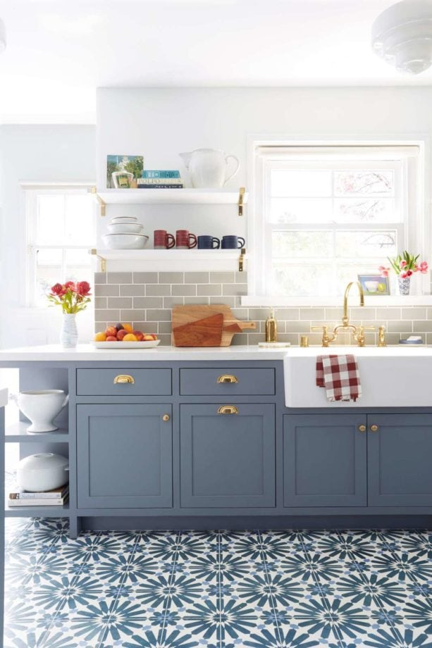 classic blue gray cabinets in a traditional kitchen