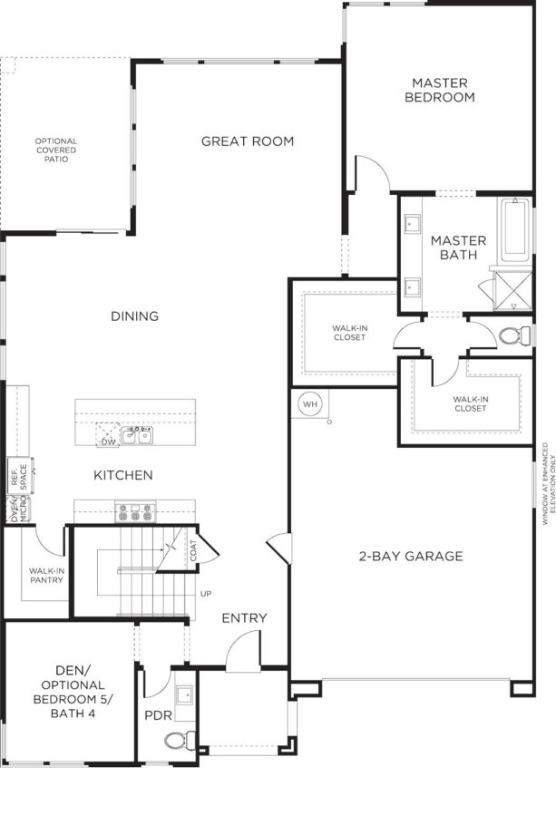 master bedroom plan with male and female walk-in closets