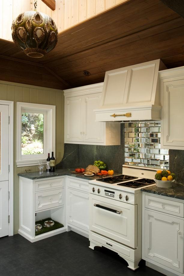 beveled antique mirror tiles backsplash behind stove only
