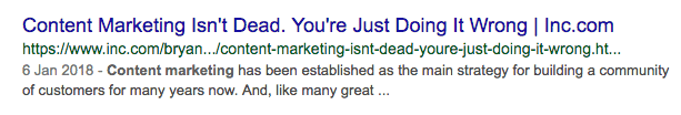 Search result talking about how content marketing is not dead