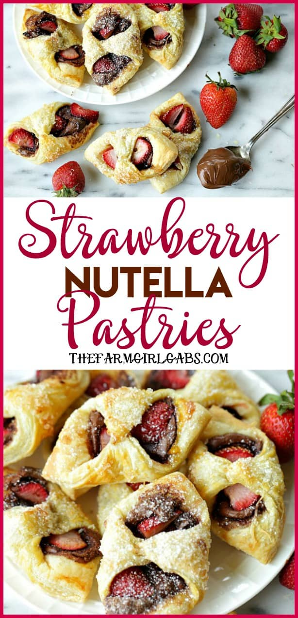 With just three main ingredients, Strawberry Nutella Pastries are a drool-worthy dessert that everyone will love. #dessert #recipe #breakfast #strawberry #strawberries #nutella #baking