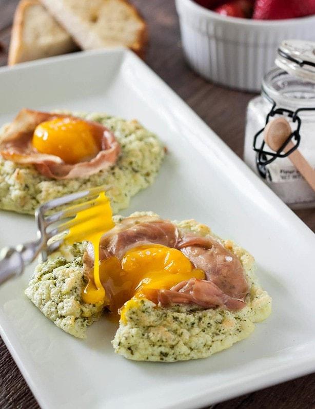 Pesto Prosciutto Cloud Eggs