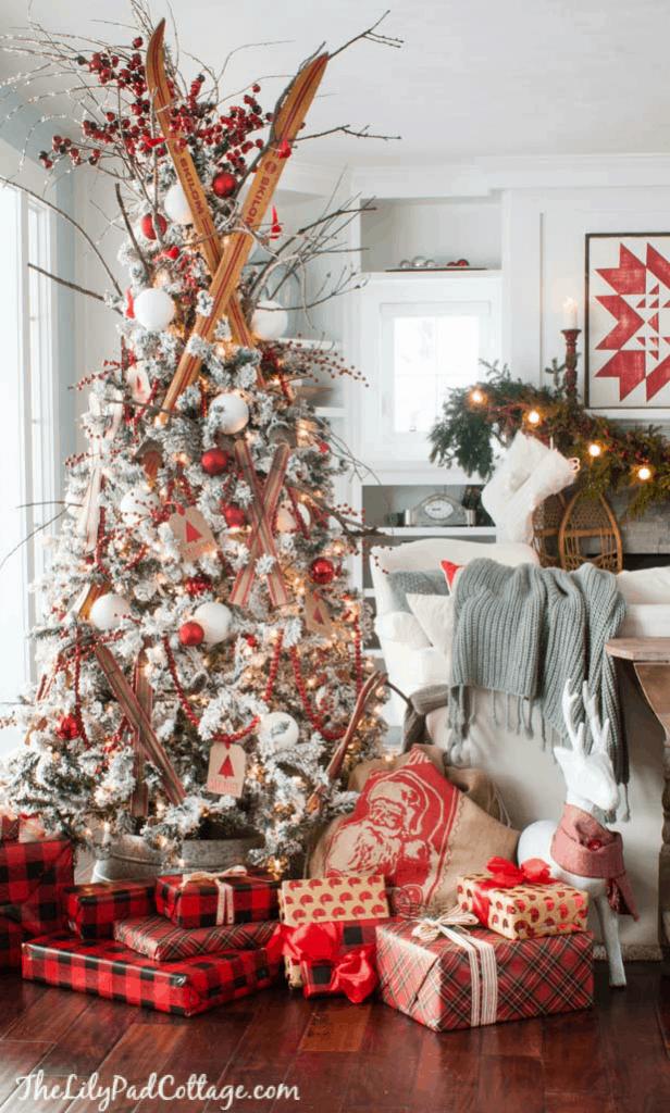 Flocked Christmas Tree Ski Inspired