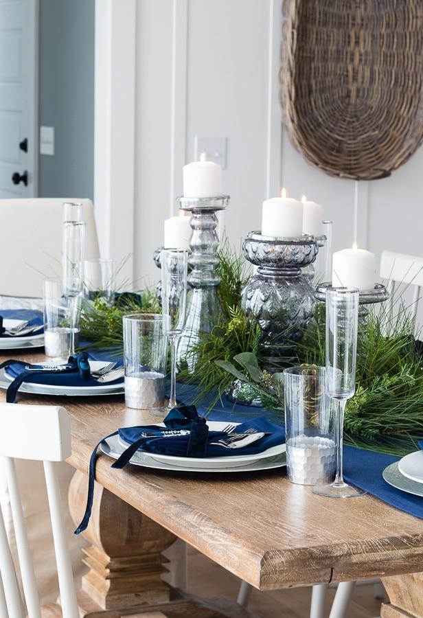 velvet ribbon christmas dinner table setting