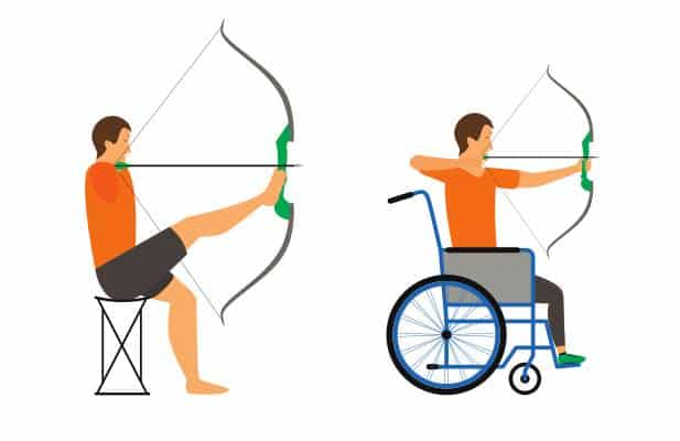 A cartoon drawing of a wheelchair bound archer and an archer without arms