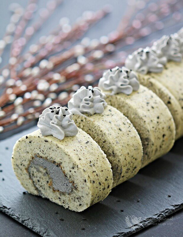 black sesame Swiss roll