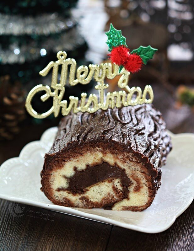 chocolate yule log cake
