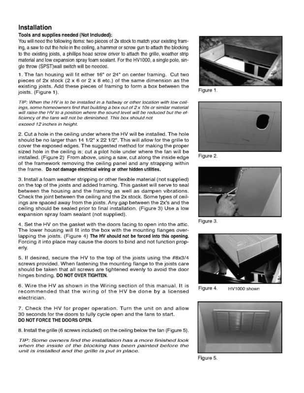 Page 2 HV1000 HV1600 Whole House Fan Installation Manual and Guide