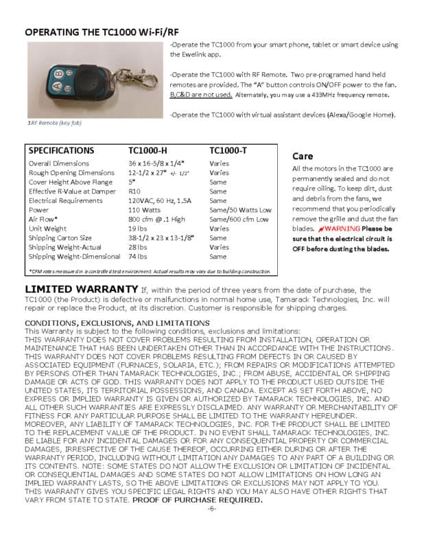 TC1000H WiFi Manual page 6