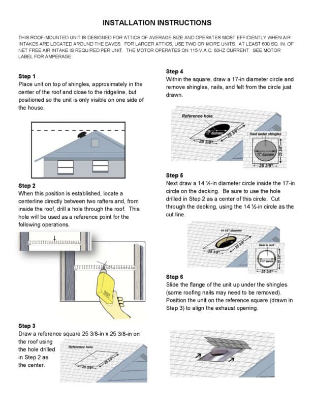 page 2 instruction manual powered roof ventilator