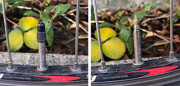 split image of a presta bike tire valve with the cap on and off