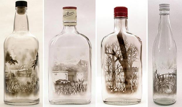 Smoke paintings on the bottle by Jim Dingilian