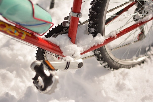 Studded bike tires in the snow